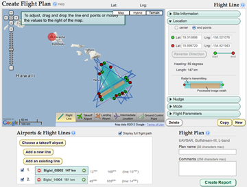Screenshot of the UAVSAR Web Flight Planning Tool