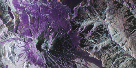 UAVSAR polarimetric image of Mount St Helens